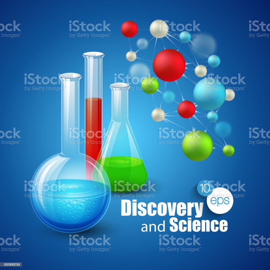 Chemical Science and discovery. Vector illustration. Molecule  flasks vector art illustration