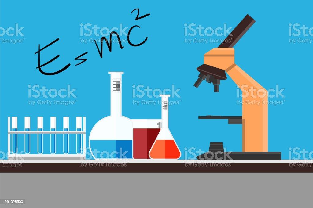 化学科学機器フラット設計、ワークスペースの概念。 研究室演習シーン、ベクトル図です。 - DNAのロイヤリティフリーベクトルアート