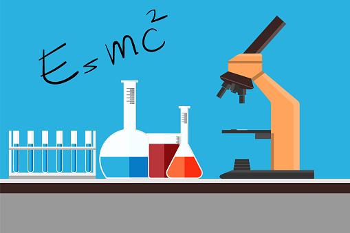 化学科学機器フラット設計ワークスペースの概念 研究室演習シーンベクトル図です - DNAのベクターアート素材や画像を多数ご用意