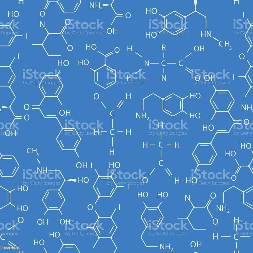 Chemical seamless pattern. Blue. vector art illustration