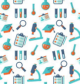 Chemical Seamless Pattern with Different Laboratory Objects