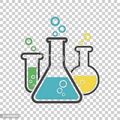 istock Chemical test tube pictogram icon. Laboratory glassware or beaker equipment isolated on isolated background. Experiment flasks. Trendy modern vector symbol. Simple flat illustration 824666650