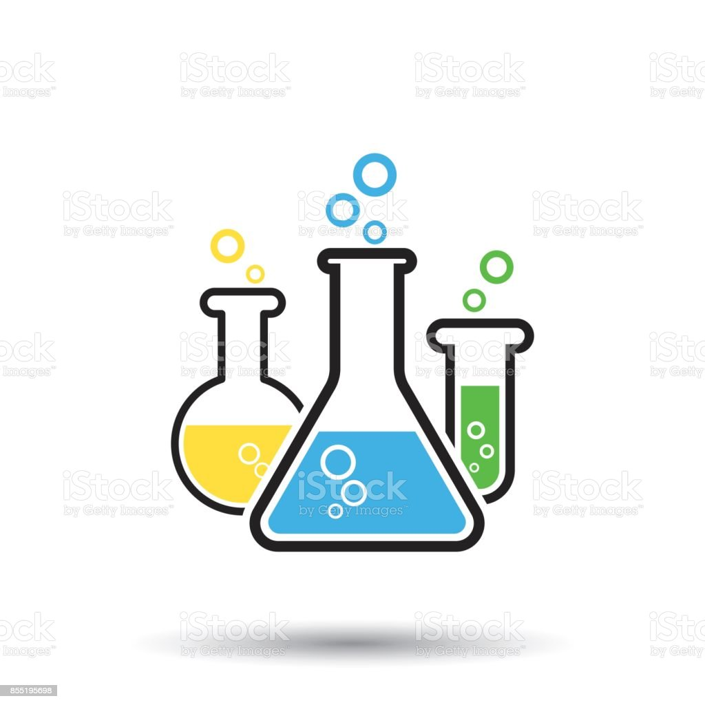 Chemical test tube pictogram icon. Laboratory glassware or beaker equipment isolated on white background. Experiment flasks. Trendy modern vector symbol. vector art illustration