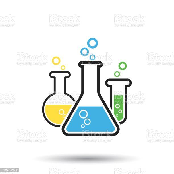 Kemiska Provrör Piktogram Ikon Glas Eller Bägare Laboratorieutrustning Isolerad På Vit Bakgrund Experimentet Kolvar Trendiga Moderna Vektor Symbol-vektorgrafik och fler bilder på Analysera