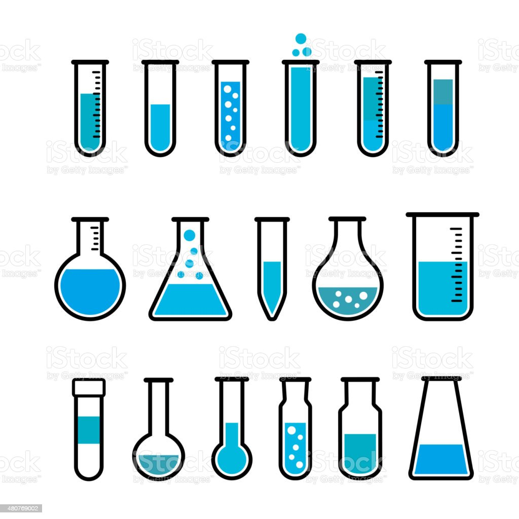 Chemical test tubes icons vector art illustration