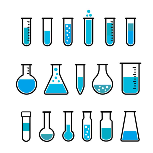 Chemical test tubes icons Chemical beaker icons set. Chemical lab equipment isolated on white. Test tubes wit blue fluid for science experiment.  tube stock illustrations