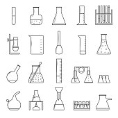 Chemical Test Tubes Thin Line Icon Set. Vector
