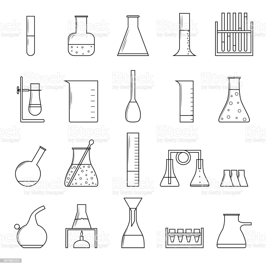 Chemical Test Tubes Thin Line Icon Set. Vector vector art illustration