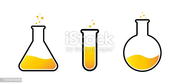 Chemical test tubes with yellow liquid, set, vector illustration of flask on a white background.