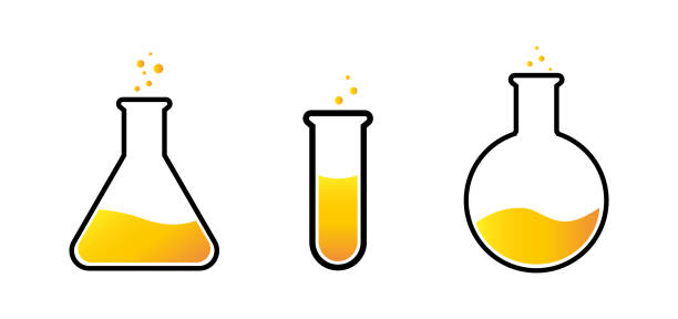 Chemical test tubes with yellow liquid, set, vector illustration of flask on a white background Chemical test tubes with yellow liquid, set, vector illustration of flask on a white background. laboratory glassware stock illustrations