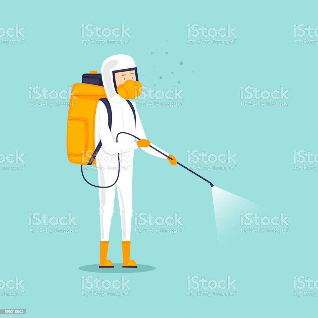 Chemische Behandlung Insekten. Mann in Uniform mit Gesicht Maske Spray Pestizide. Flaches Design-Vektor-Illustration. – Vektorgrafik