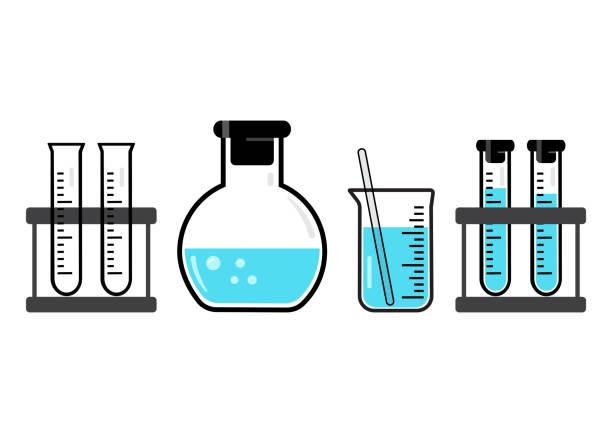 chemische behälter und flaschen mit blaue flüssigkeit. vektor-illustration - becherglas stock-grafiken, -clipart, -cartoons und -symbole