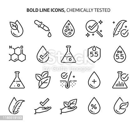 Chemically tested related, bold line icons. The illustrations are about, skin, dermatology, cosmetics, allergy, ph values.