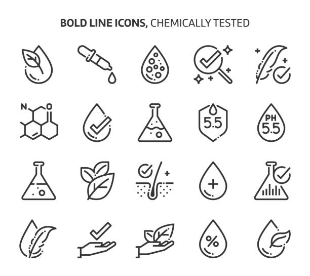 Chemically tested related, bold line icons. Chemically tested related, bold line icons. The illustrations are about, skin, dermatology, cosmetics, allergy, ph values. science icons stock illustrations