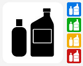 Chemicals For Photographic Processing Icon. This 100% royalty free vector illustration features the main icon pictured in black inside a white square. The alternative color options in blue, green, yellow and red are on the right of the icon and are arranged in a vertical column.