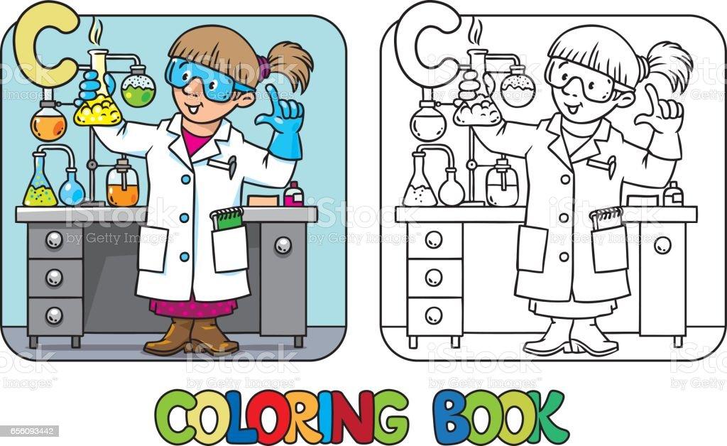 Libro De Colorear De Químico Profesión De Abc Alfabeto C - Arte ...