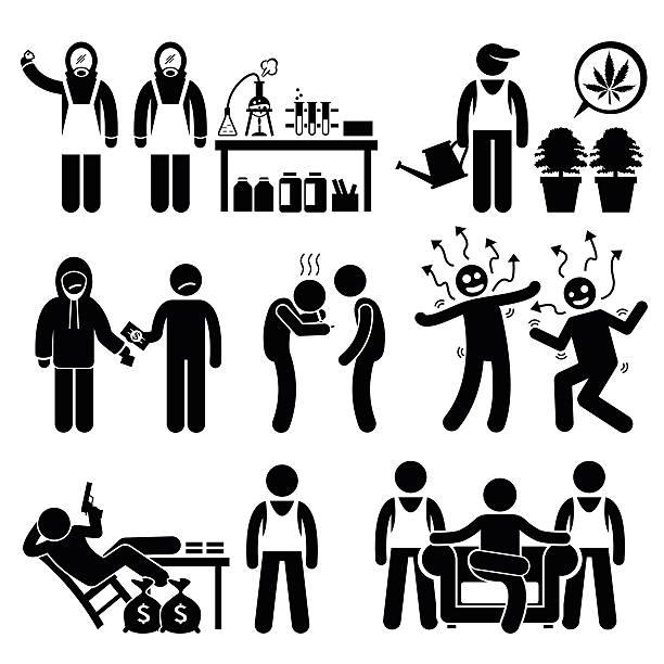 bildbanksillustrationer, clip art samt tecknat material och ikoner med chemist cooking illegal drug lord business syndicate gangster - amfetamin