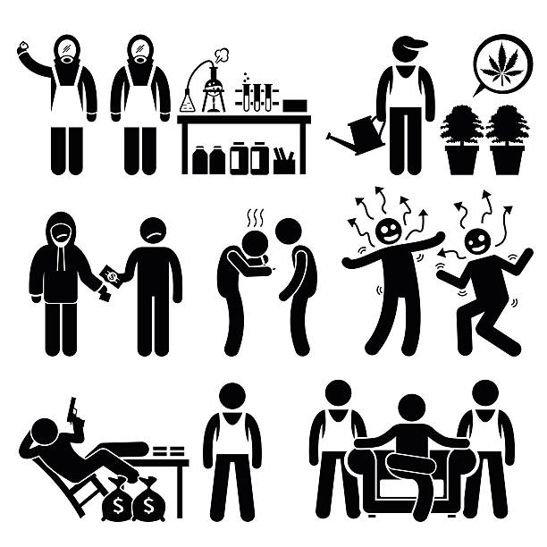 chemiker kochen illegalen drug lord business syndicate gangster - methamphetamin stock-grafiken, -clipart, -cartoons und -symbole