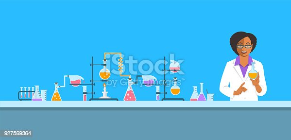 istock Chemist in chemical laboratory vector background 927569364
