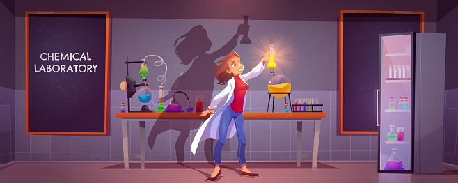 Chemist with flask in scientific laboratory