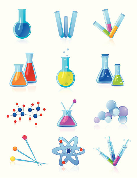 Chemistry 2 Vector illustration of chemical topics. Every object in a separate layer. laboratory flask stock illustrations
