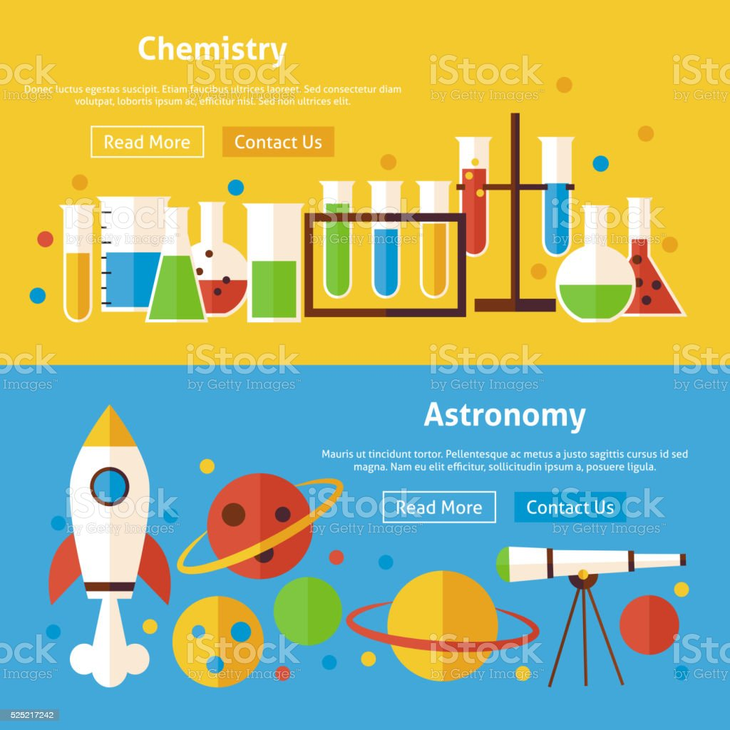 Chemistry and Astronomy Science Flat Website Banners Set vector art illustration