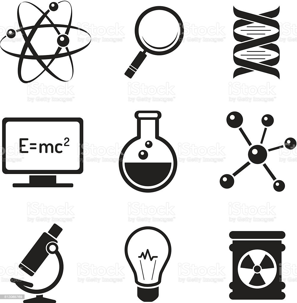 Chemistry and bio technology icons set vector art illustration