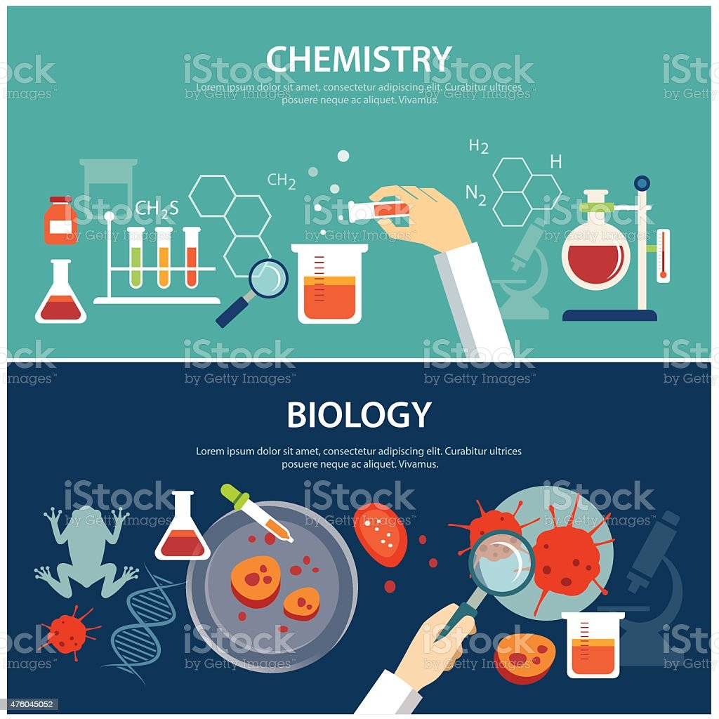 chemistry and biology education concept vector art illustration