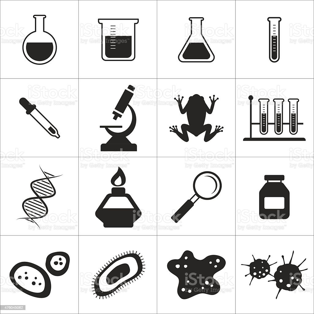 chemistry and biology icon set vector art illustration
