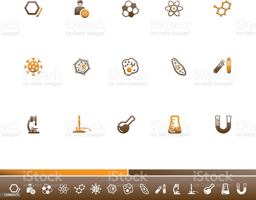 Chemistry And Biology Icons | Orange Brown vector art illustration