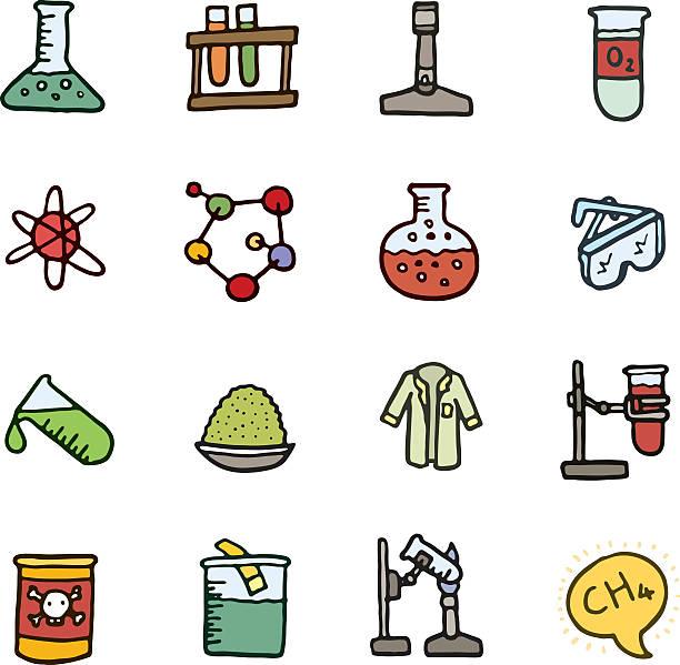Chemie und Experimente Symbol und Kritzeleien – Vektorgrafik