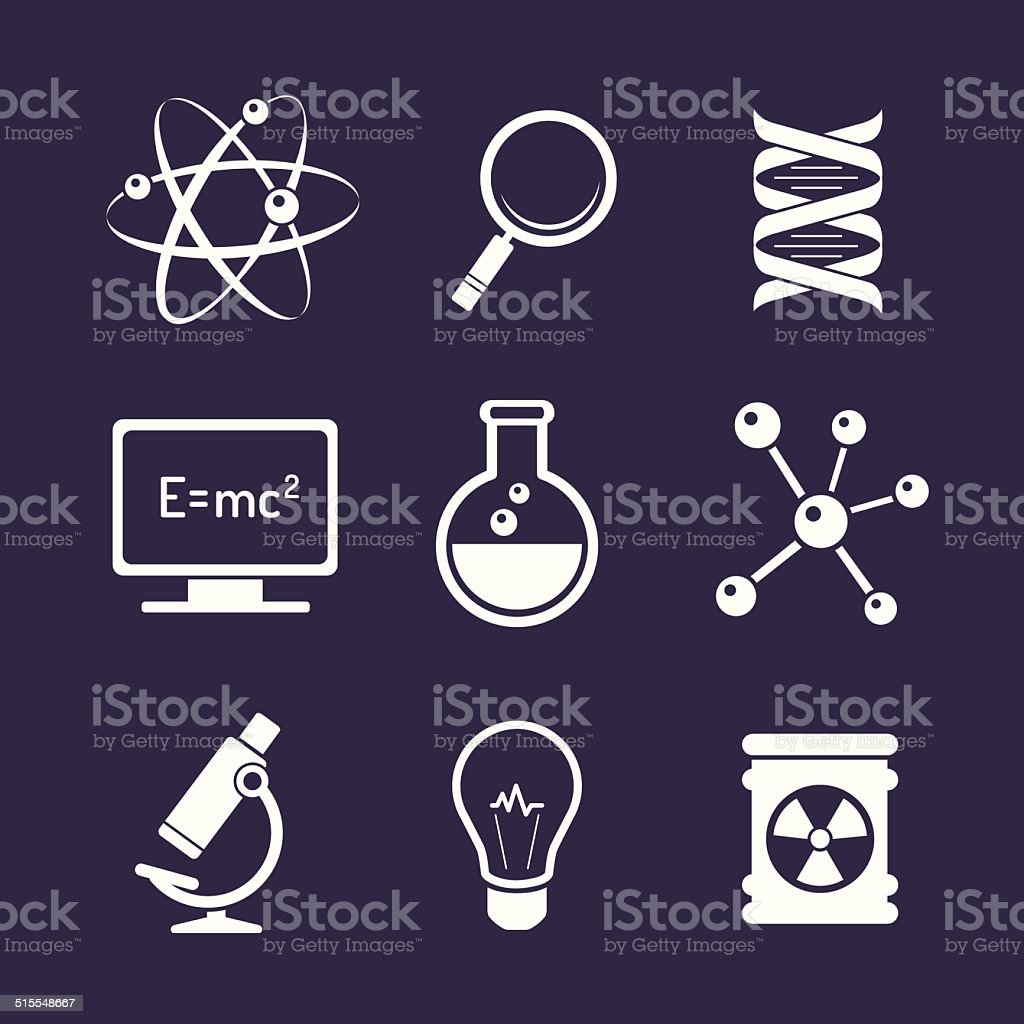 Chemistry and science icons vector art illustration