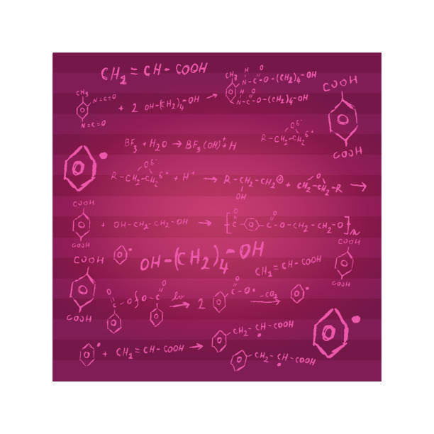 Chemistry background with stripes consisting of chemical formulas Chemistry background with stripes in burgundy color consisting of chemical reactions and formulas as sketch. formic acid stock illustrations