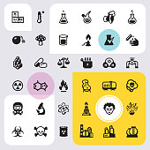 Chemistry & Biotechnology interface icons set