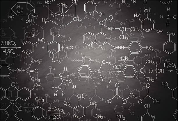 ilustraciones, imágenes clip art, dibujos animados e iconos de stock de bioquímica pizarra - química