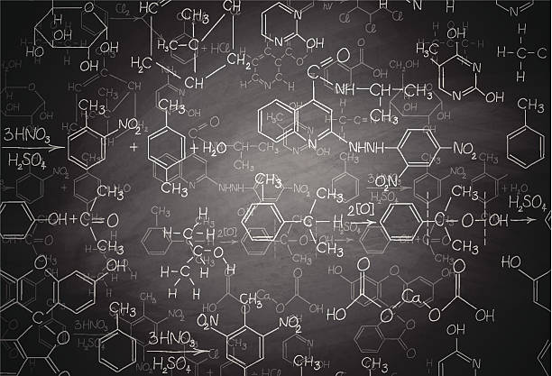 stockillustraties, clipart, cartoons en iconen met chemistry blackboard - scheikunde