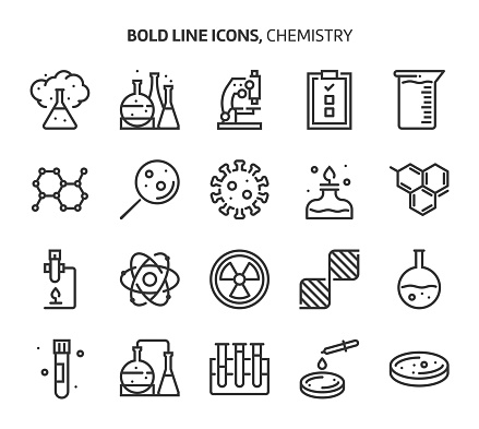 Chemistry, bold line icons