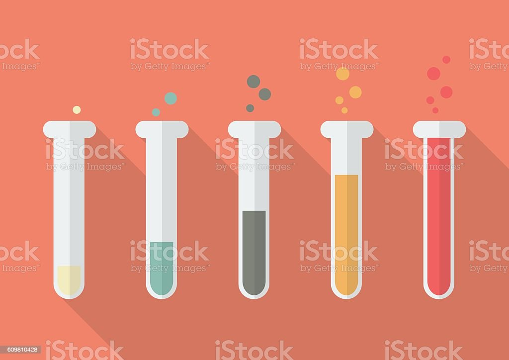 Chemistry Bulb Bar Graph vector art illustration