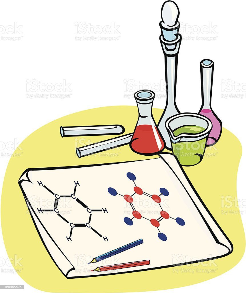 chemistry - chemical formula, benzene vector art illustration