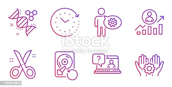 Chemistry dna, Recovery hdd and Career ladder line icons set. Cogwheel, Scissors and Faq signs. Time change, Employee hand symbols. Chemical formula, Backup info. Science set. Vector