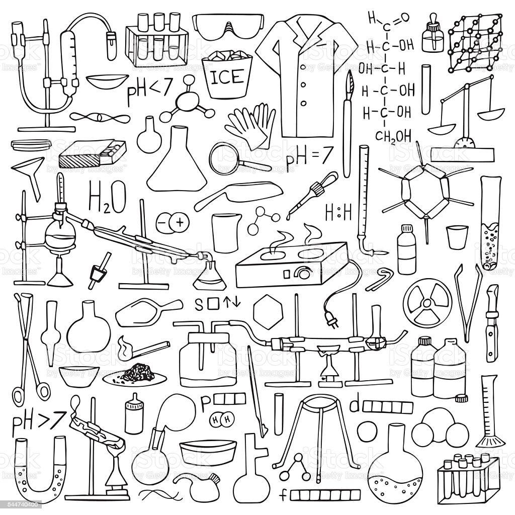 Conjunto De Desenhos De Quimica Arte Vetorial De Stock E Mais