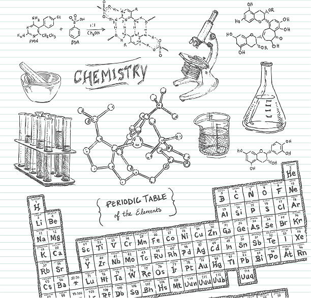 stockillustraties, clipart, cartoons en iconen met chemistry doodle sketches - scheikunde