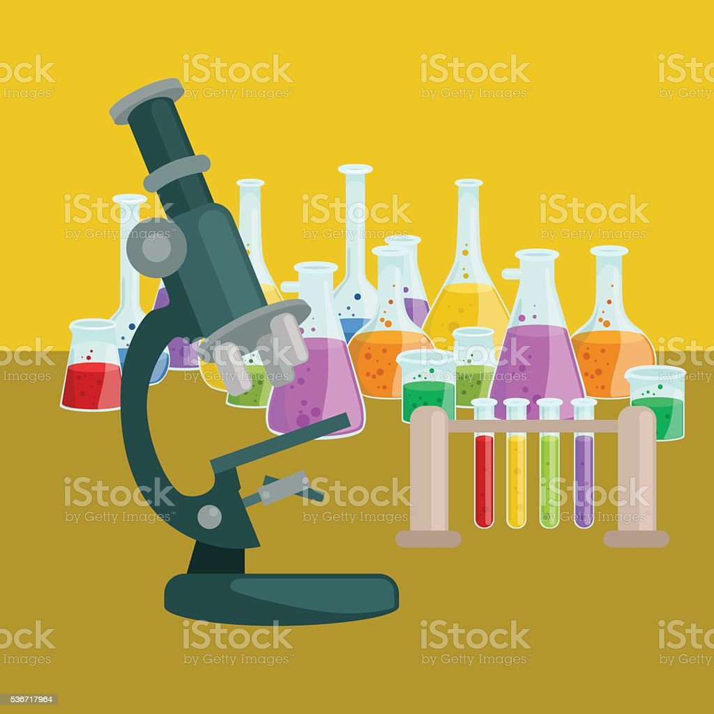 Chemistry education research laboratory equipment, science lab glass tube, vector vector art illustration