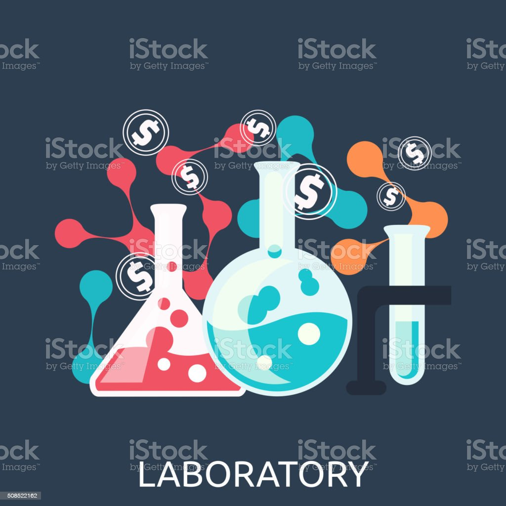 Chemistry Education Research Laboratory Equipment vector art illustration