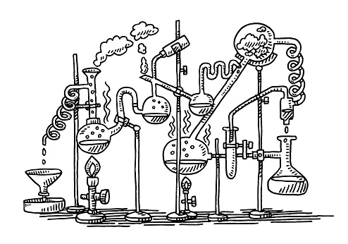 Hand-drawn vector drawing of a Chemistry Experiment in a Laboratory. Black-and-White sketch on a transparent background (.eps-file). Included files are EPS (v10) and Hi-Res JPG.
