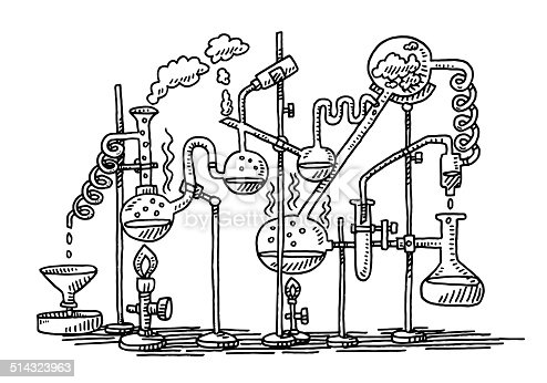 Chemistry Experiment Laboratory Drawing