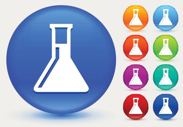 Chemistry Flask Icon on Shiny Color Circle Buttons Chemistry Flask Icon on Shiny Color Circle Buttons. The icon is positioned on a large blue round button. The button is shiny and has a slight glow and shadow. There are 8 alternate color smaller buttons on the right side of the image. These buttons feature the same vector icon as the large button. The colors include orange, red, purple, maroon, green, and indigo variations. laboratory glassware stock illustrations