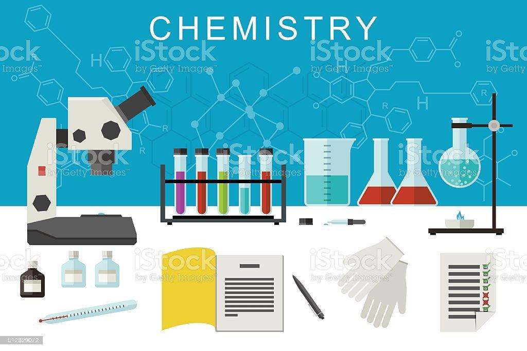 Chemistry flat banner. vector art illustration