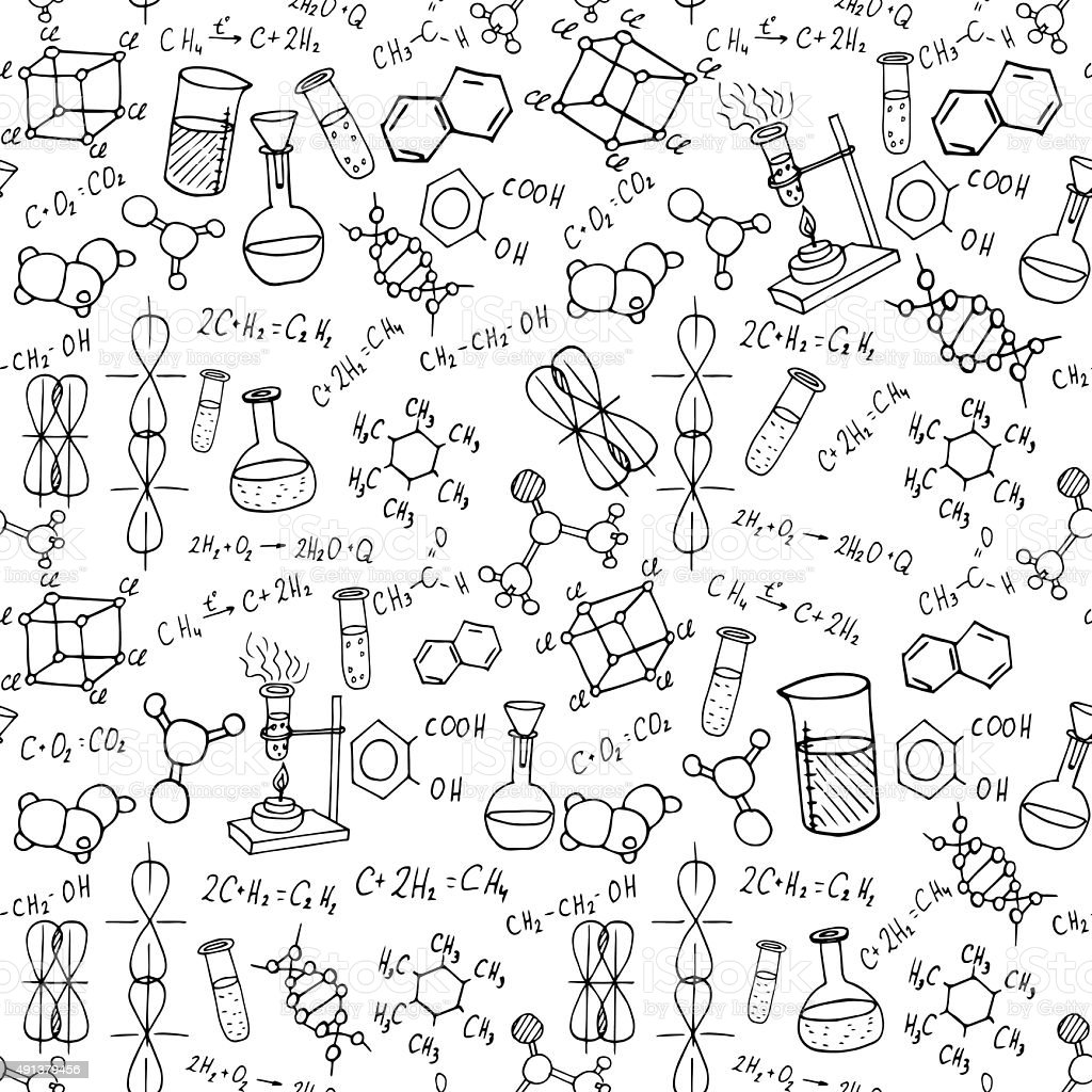 Chemistry hand drawn doodles background science vector for Sfondi chimica