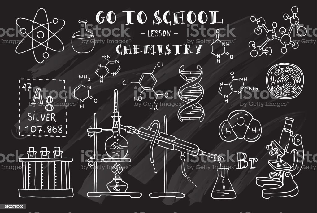 hand sketches on the theme of chemistry chalkboard vector illustration royalty